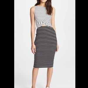 BAILEY /44 black and white striped dress keyhole